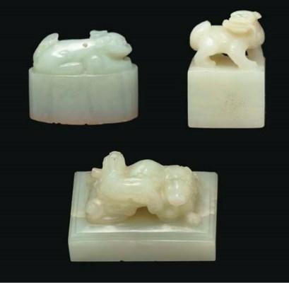 Three white and pale celadon j