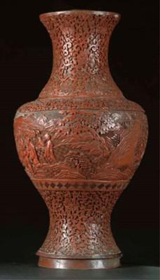 A Chinese cinnabar lacquer bal