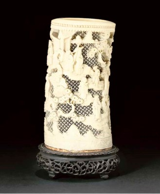 A Chinese ivory tusk vase, 19t