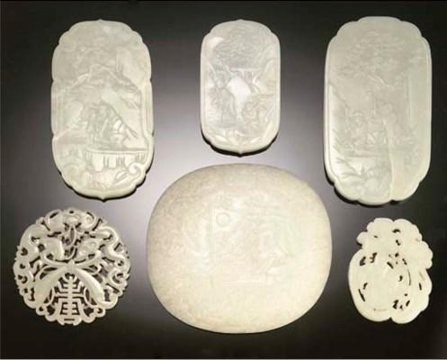 Six Chinese various jade plaqu