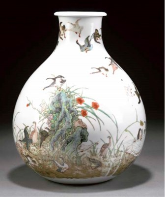 A polychrome pear-shaped vase,