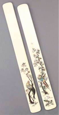 Two shibayama style ivory pape