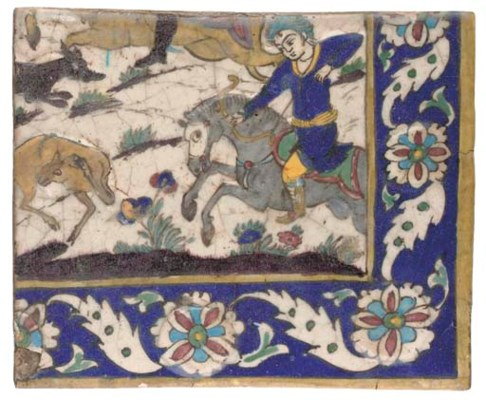 A MOULDED POTTERY TILE, IRAN,