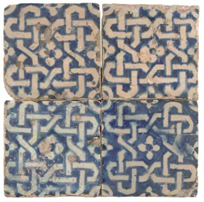 FOUR BLUE AND WHITE TILES, POS