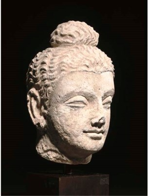 A GANDHARA STUCCO HEAD OF BUDD