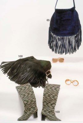A MIDNIGHT BLUE FRINGED SUEDE