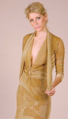 A GUCCI GOLD LUREX DRESS AND S