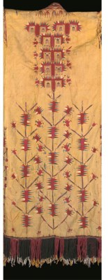 A YELLOW GROUND CHRYPE ROBE, T