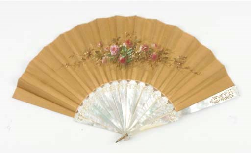 ROSES, SIGNED REGEREAU, A FAN