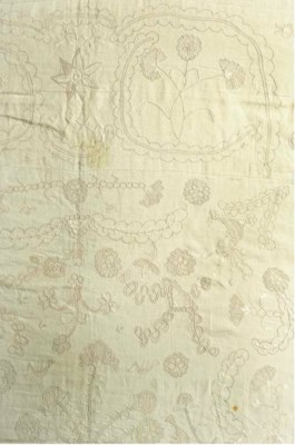 A WHITEWORK COVERLET THE LINEN