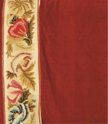 THREE RED PLUSH CURTAINS WITH
