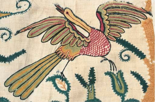 A CREWELWORK BORDER, ENGLISH,