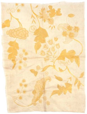 A LINEN PANEL EMBROIDERED IN Y