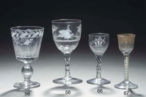 Four various items of glass