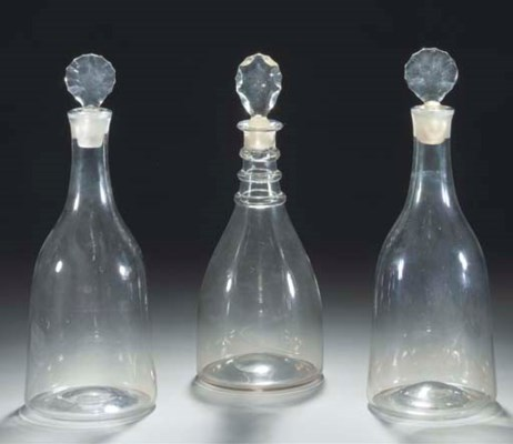 A pair of magnum decanters and