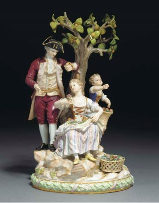 A MEISSEN GROUP OF A GALLANT,