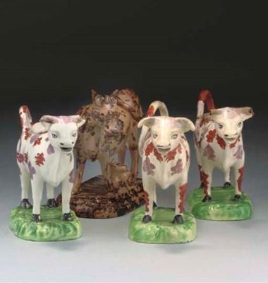 THREE ENGLISH CREAMWARE COW-CR