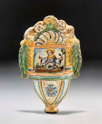 AN ITALIAN MAIOLICA HOLY WATER