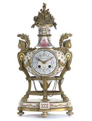 A French porcelain and ormolu-