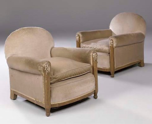 A PAIR OF CARVED AND UPHOLSTER