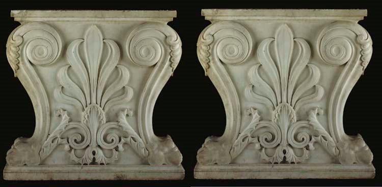 A pair of Italian sculpted whi