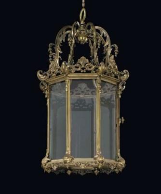 A brass octagonal hall lantern