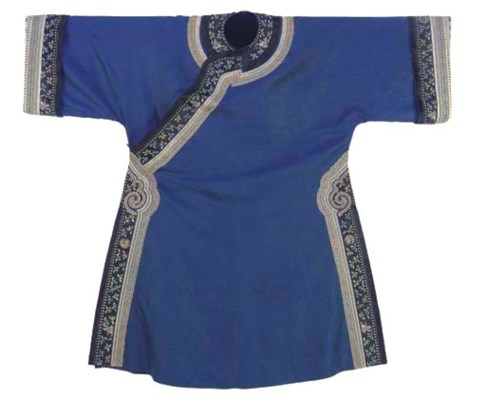 AN INFORMAL ROBE OF BLUE SILK
