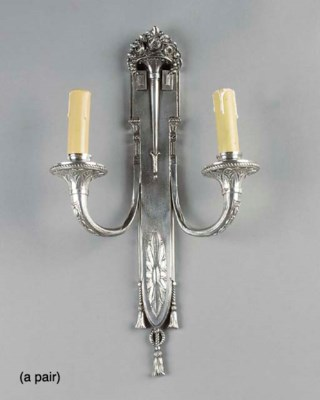 A pair of Art deco silvered me