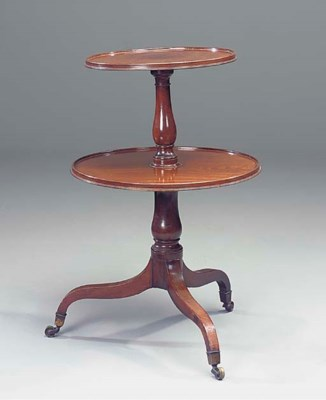 A GEORGE III MAHOGANY TWO-TIER