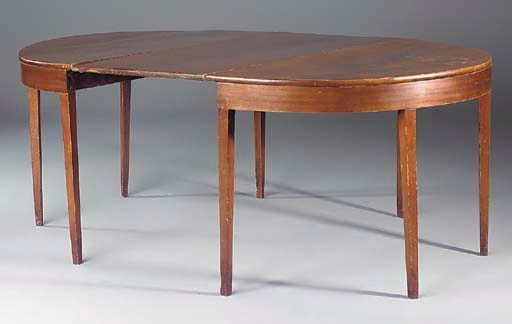 A MAHOGANY D-END DINING TABLE