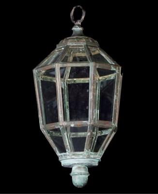 A copper octagonal hall lanter