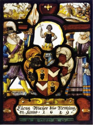 A Swiss STAINED GLASS armorial
