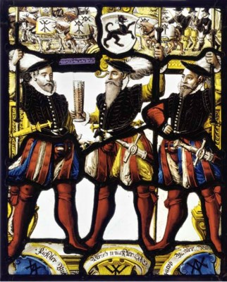 A SWISS STAINED GLASS PANEL OF