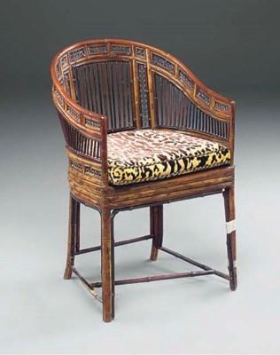 A bamboo tub chair