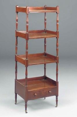 A mahogany four-tier whatnot