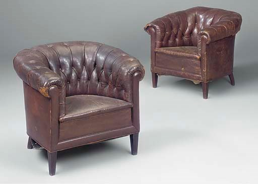 A pair of French leather uphol