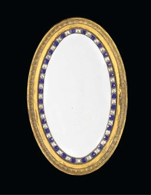 AN OVAL GILTWOOD MIRROR