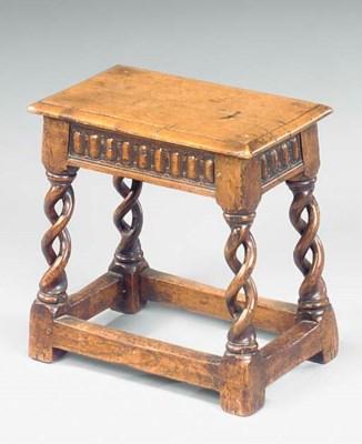 An oak joined stool