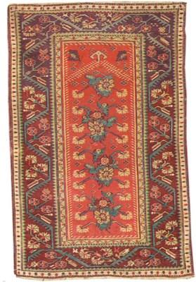 An antique Melas prayer rug, T