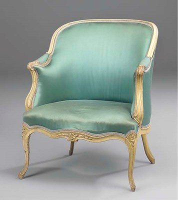 A LOUIS XV GREEN PAINTED BERGE
