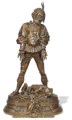 A French bronze figure of a je