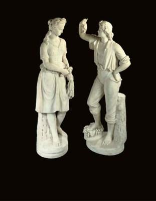 A pair of Italian carrara marb