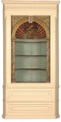 A PAINTED PINE CORNER CABINET