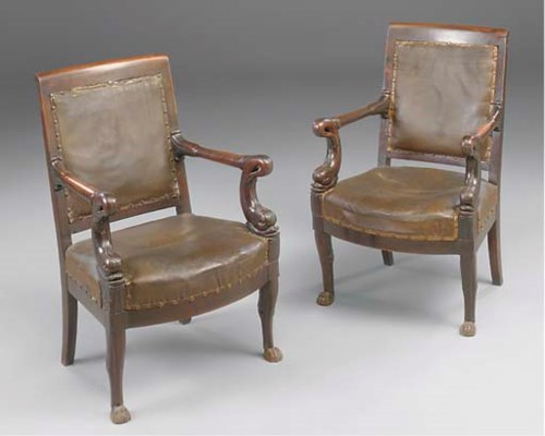A pair of Empire stained mahog