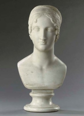 A WHITE MARBLE BUST ENTITLED '