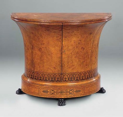 A BURR MAPLE SIDE CABINET