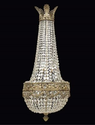 A FRENCH GILT-BRASS AND GLASS