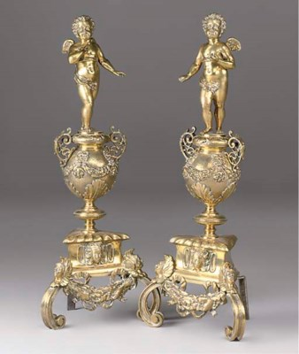 A PAIR OF POLISHED BRASS FIGUR
