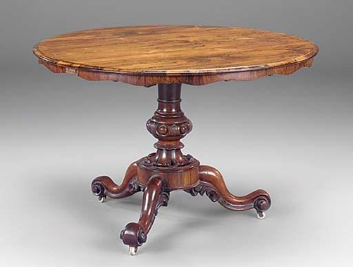 A Victorian rosewood tilt-top
