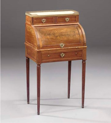 A French fruitwood roll top de